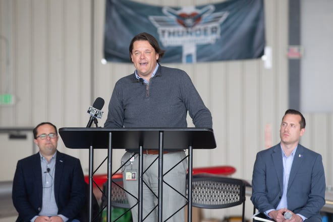 John Fager, CoreFirst Bank and Trust's executive vice president, announced his company as a presenting sponsor for this year's and next Thunder Over the Heartland air show on June 26 and 27.