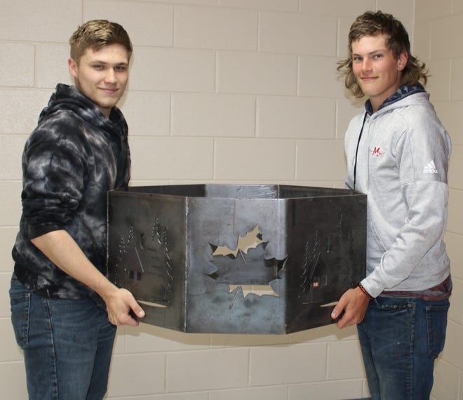 Each year, the Meyersdale Area School District Alumni Association offers a raffle of an item made by students in the welding program at the Somerset County Technology Center. Under the direction of Jamie Frampton, welding instructor, students have created fire rings for the raffle. Willam Donitzen and Tyler Gieger were among the students who created this year's fire ring.