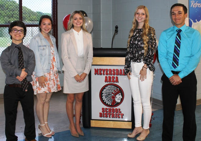 The 107th annual Meyersdale Area High School Alumni Banquet was held May 29 celebrating the MAHS 2021 as well as the classes 1956, 1966, 1971, 1976, 1981, 2016 and 2021. The four officers of the Class of 2021 and Abby Shuck, (second from right), FFA president and Somerset County Dairy Princess served as the speakers and hosts for the event: Dawson Rough, treasurer; Olivia Miller, vice president; Karlee Witherite, president; and Brycen Sechler, secretary.