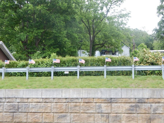 American Flags flew in the breeze on Scarlett Terrace in West Baden Springs honoring fallen military personnel on Memorial Day.