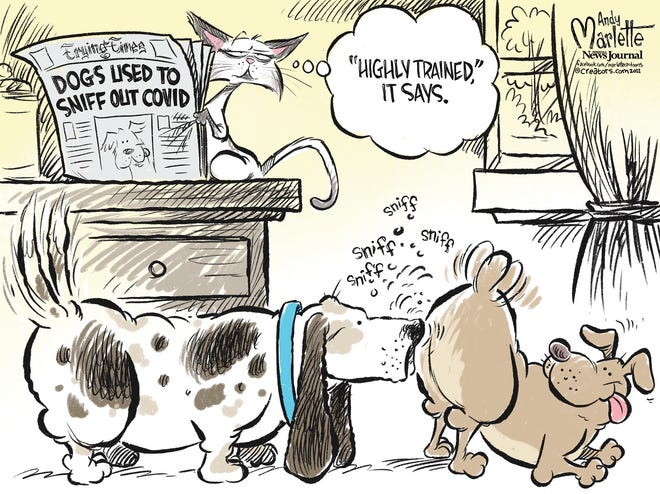 CARTOON: Dogs used to sniff out COVID