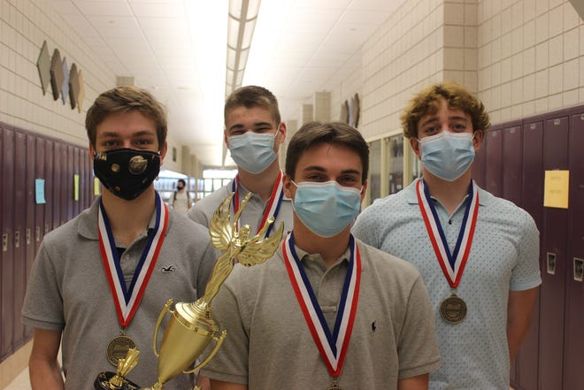 Pickerington High School North seniors Garrett Cox (left), Logan Nowlin, Colin Decker and Tyler Brunelle were part of a web application team that won first place at the Business Professionals of America National Conference, held virtually April 26-May 9.
