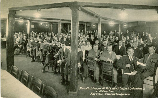 Gov. James M. Cox spoke at the men's supper club May 5, 1913, at the First Methodist Episcopal Church, 873 Bryden Road in Columbus, to discuss a new liquor-license law and its effect on saloons in the state. The meeting was not restricted to only church members. The church was dedicated Feb. 4, 1900. The congregation disbanded in 1968, and the First African Methodist Episcopal Zion Church took over the building and maintains it today.