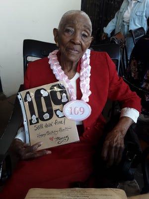 Beatrice Pruitt, of Hesperia, celebrates her 109th birthday at Mama Carpino's Italian Restaurant in Apple Valley on Saturday, May 22, 2021.