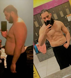 Boxer Marvin Ferman shows photos of himself before (left) and after (right) starting a grueling regimen to lose weight and get into boxing shape.