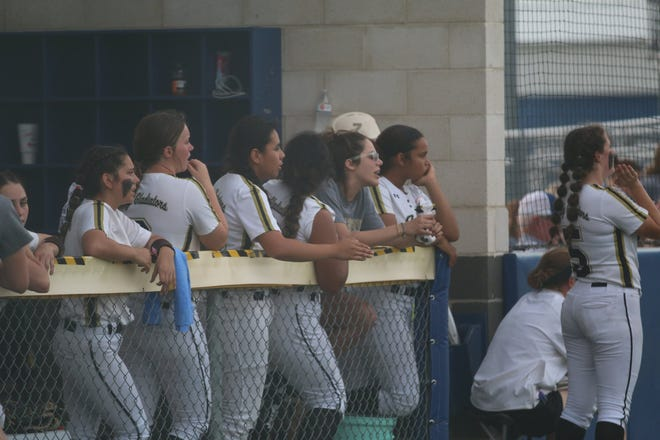Italy softball players look on from the dugout during Thursday's 6-3 loss to Crawford in Game 2 of their Class 2A Region II final series. The Lady Gladiators' season ended on Saturday with a 1-0 walk-off loss to the Lady Pirates in the deciding game.
