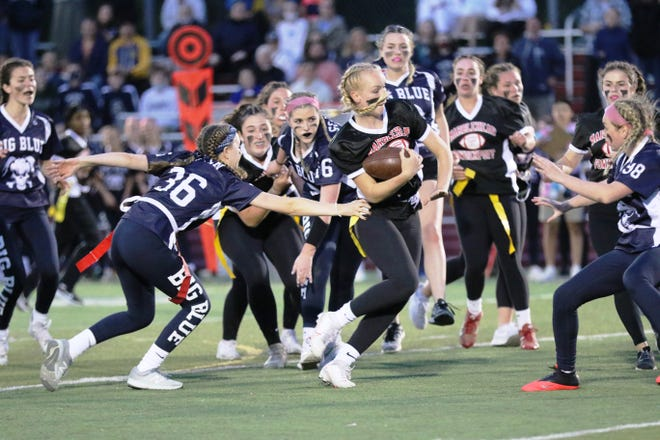 The Swampscott flag football defense was all over the Marblehead offense during the annual game on May 25, and their efforts were awarded with a 10-0 win.