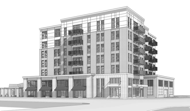 An architectural drawing shows the seven-story development planned for 201 W. Wisconsin Ave. in Neenah. The building will have retail on the first floor, offices on the second floor and apartments on the upper floors. The view is from the southeast.