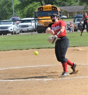 Coldwater pitcher Alexis Bills pitched a shutout against Pennfield in the first round of this Division 2 softball district tournament at Pennfield High School on Tuesday.