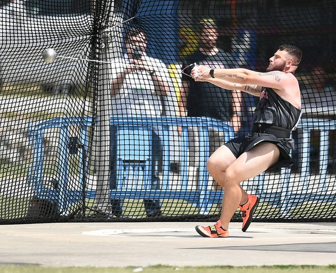 Rutgers-Camden's Jude Misko won the national title in the hammer throw at the at 2021 NCAA Division III Outdoor Track and Field Championships last weekend.