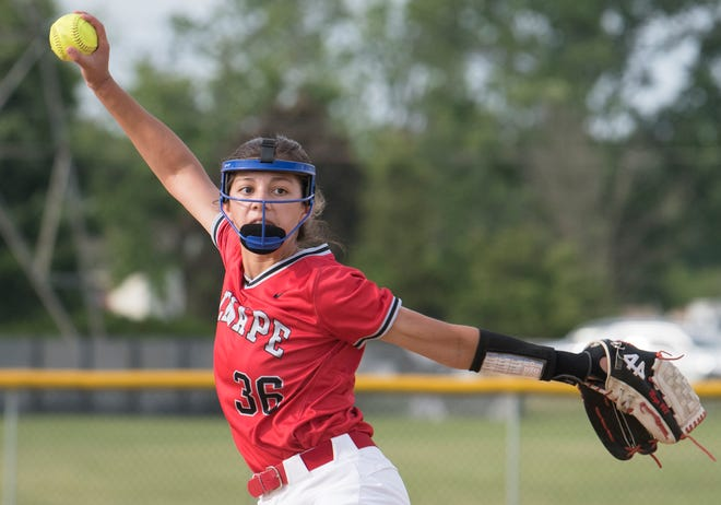 Lenape's Maya Knasiak delivers a pitch during the opening round game of the South Jersey Group 4 softball tournament between Lenape and Vineland, played at Lenape High School on Tuesday, June 1, 2021. Lenape defeated Vineland, 4-1.
