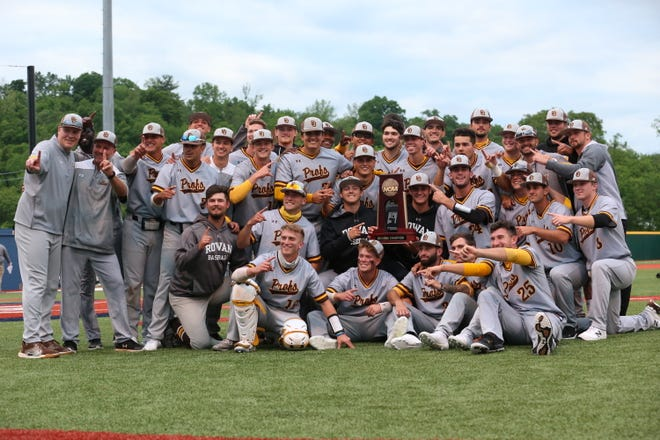 The Rowan University baseball team celebrates after winning the Marietta Regional championship Sunday and earning the program's first trip to the Division III College World Series since 2005.