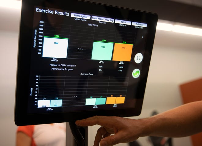 Billy Cottle explains the results on the chest press machine to Maria Aguilar, Cincinnati Enquirer intern, June 1, 2021.