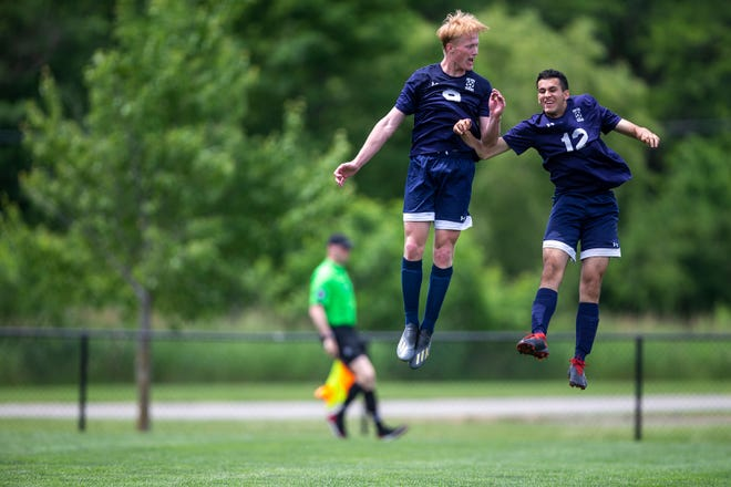 Notre Dame-West Burlington's Cole Ward and Arya Nowroozi celebrate after Ward scored a goal during the Class 1A state soccer quarterfinal between Notre Dame-West Burlington and Waterloo Columbus on Tuesday, June 1, 2021, at the Cownie Soccer Complex, in Des Moines. Notre Dame won the match 4-1 and will advance to the semifinal.