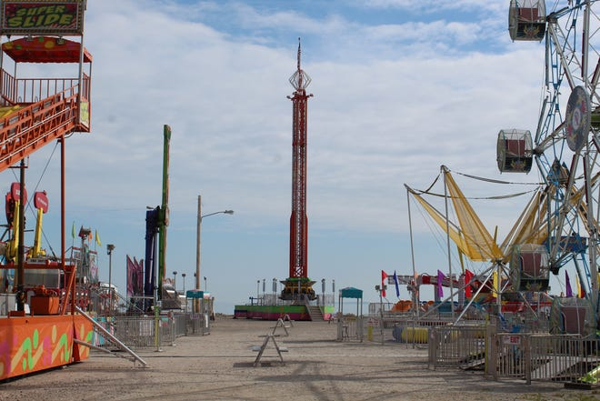 Port Clinton's Walleye Festival will kick off Thursday night at 5 p.m. The city pumped out water from Waterworks Park Memorial Day weekend after strong rain and winds forced the postponement of the festival. The park, seen here Tuesday morning with the festival rides, is now dry enough to host the annual event.