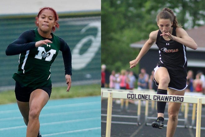 Madison's Nevaeh Lewis (left) and Lucas' Shelby Grover have been named the co-Mansfield News Journal Girls Runners of the Year.