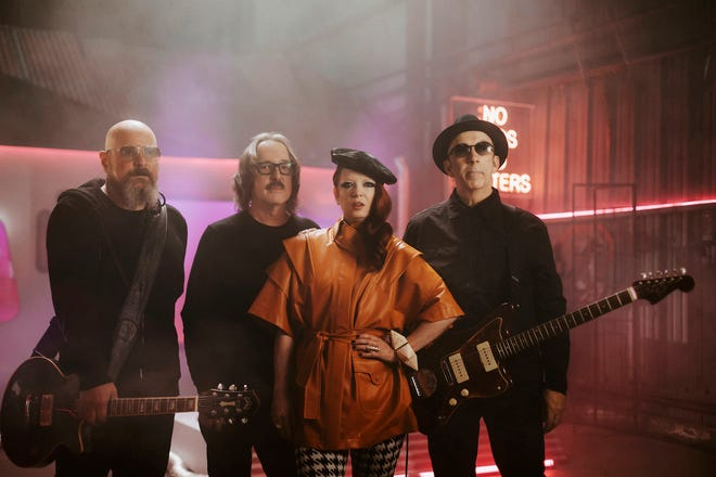 """Garbage (from left, Steve Marker, Butch Vig, Shirley Manson and Duke Erikson) are back with their seventh album, """"No God No Masters,"""" out June 11."""