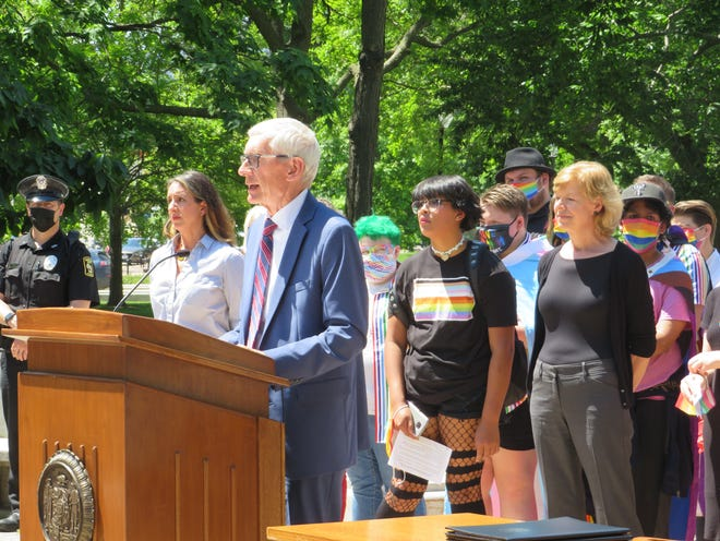Gov. Tony Evers left open the possibility of vetoing the state budget at a press conference Tuesday.