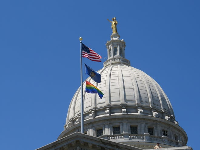 The rainbow pride flag was raised for the third year Tuesday, marking the beginning of pride month.