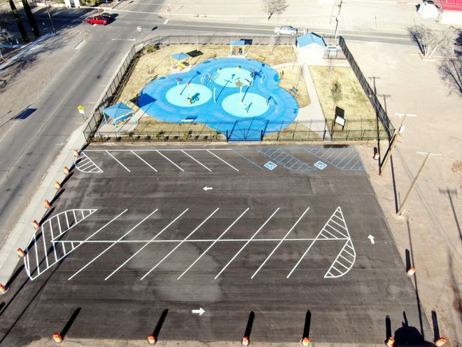 A drone view of Deming's new splash pad.
