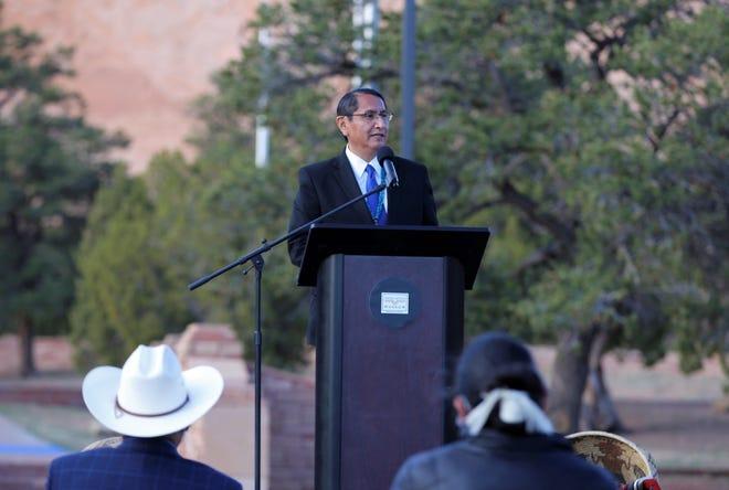 Navajo Nation President Jonathan Nez speaks at an event on April 22, 2021, welcoming first lady Jill Biden to Window Rock, Ariz.