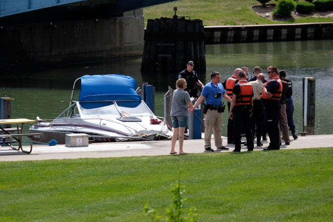 Rescue crews responded to a report of a boat hitting the 10th Street Bridge Tuesday in Port Huron.