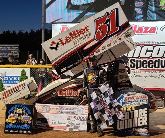 Freddie Rahmer is shown here after his win on Monday night at Lincoln Speedway.