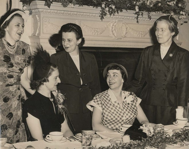 A 1950 photograph shows the newly elected officers of the then Young Women's Club of York (now the Women's Association of York). Left to right in the photo (and identified with their husbands' names, as was usual in that era) are: Standing Mrs. Robert Ahrens, Mrs. Kenneth Holtman and Mrs. William McClellan (retiring senior advisor). Seated are Mrs. Leonard Morgan and Mrs. John McClain.