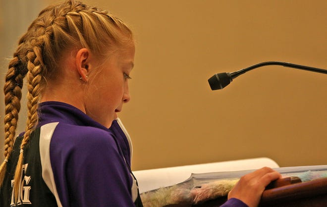 Presley Parker addresses the San Angelo city council during a meeting concerning the Texas Tumbleweeds Gymnastics School on Tuesday, June 1, 2021.