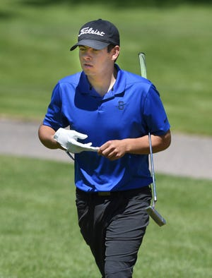 Sartell senior Logan Hamak walks to the second green in the first round of the Section 8-3A meet Tuesday, June 1, 2021, at Rich Spring Golf Club in Cold Spring.