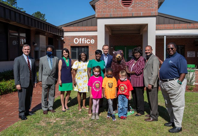Members of the Greater Tallahassee Chamber of Commerce, Leon County School Board Members, Superintendent Rocky Hanna, Riley Elementary School Principal April Knight, and others pose for a photo at Riley after the announcement of Classroom Connection program was made Tuesday, June 1, 2021. The program asks businesses to sponsor kindergarten classrooms in Leon County.
