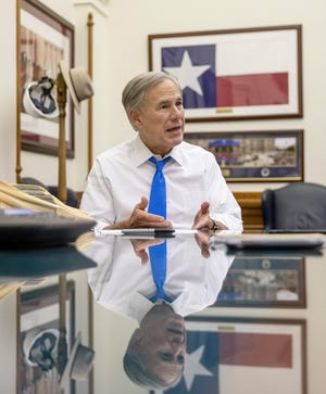 Gov. Greg Abbott talks about the 87th Texas Legislature in his office at the Capitol on June 2.