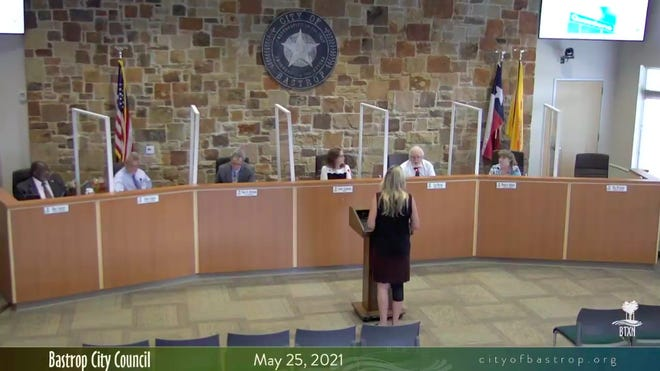 The Bastrop City Council on May 25 listens to a presentation from Tanya Cantrell, the city's human resources director, about the creation of a safety manual for city employees. Cantrell told the council the safety manual will go into effect during fiscal year 2022, which begins in October.