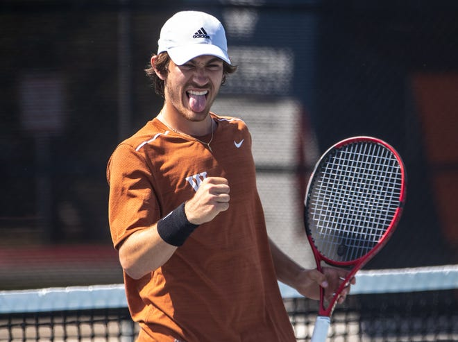 Westwood's Daniel Antov reacts after scoring the point against the Katy Taylor in the Class 6A boys doubles final during last month's state tournament. Antovwon the title with partner MarkoMesarovic and helped Westwood win a team tennis title in November.