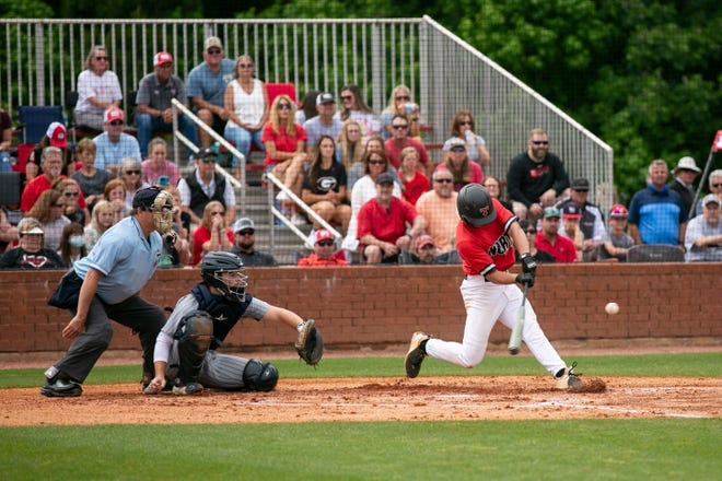 North Oconee's David Wiley bats during a baseball game at North Oconee High School on May 10, 2021, in Bogart, Georgia.  (Rebecca Wright for the Athens Banner-Herald)