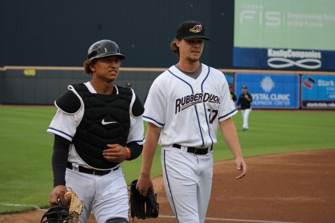 RubberDucks pitcher Alex Royalty with catcher Bo Naylor