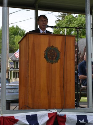 Kevin Nestor, a 1975 New London High School and 1979 graduate of the U.S. Military Academy at West Point who served in the Army, the Ohio Army National Guard and the Army Reserve, gives the Memorial Day address in New London.