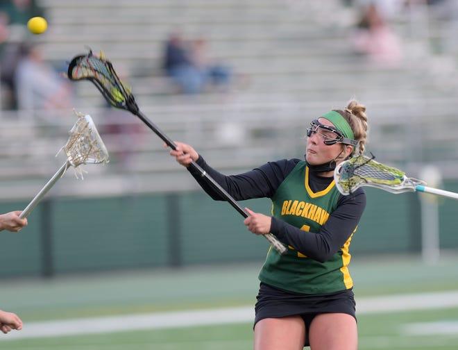 Blackhawk's Chloe Courinos scores a goal during a regular season game against Knoch at Blackhawk High School. [Sally Maxson/for BCT]