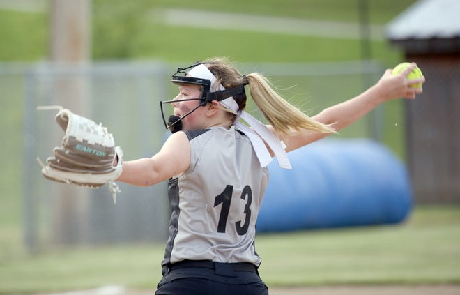 Boonville Abstract pitcher Grace Poulsen delivers a pitch to the plate against Rick Ball in Babe Ruth 12U softball Tuesday night at Bill Simmons field at Rolling Hills park.