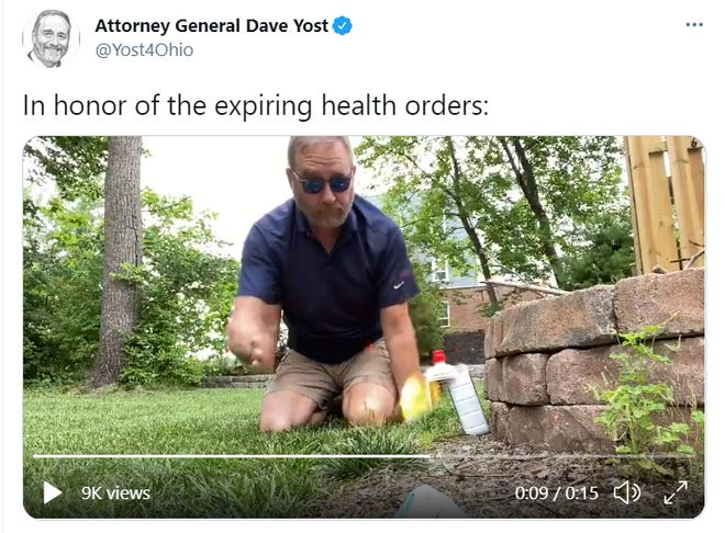 Attorney General Dave Yost in a video he posted on social media