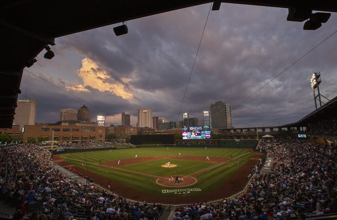 The Columbus Clippers face the Louisville Bats at Huntington Park in 2019.