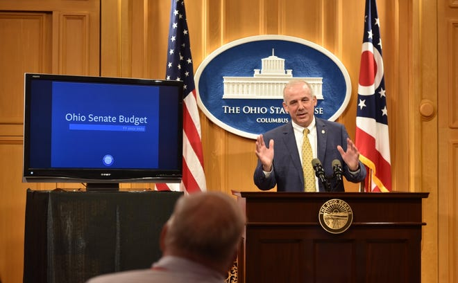 Ohio Senate President Matt Huffman, R-Lima, speaks on the state budget. Included in it is a provision forcing a redo of the state's procurement process for Medicaid money.