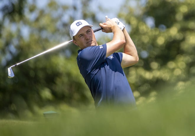 Jordan Spieth, here teeing off during the third round of last year's Memorial, will be grouped with former Memorial winners Patrick Cantlay and Bryson DeChambeau.