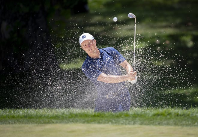 Jordan Spieth hits out of the bunker on 4 during the third round of the Memorial Tournament at Muirfield Village Golf Club in Dublin, Ohio on Saturday, July 18, 2020. [Adam Cairns/Dispatch]