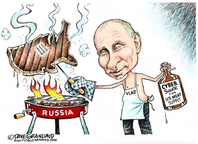 Russia cyber attack on US meat cartoon by Dave Granlund, PoliticalCartoons.com