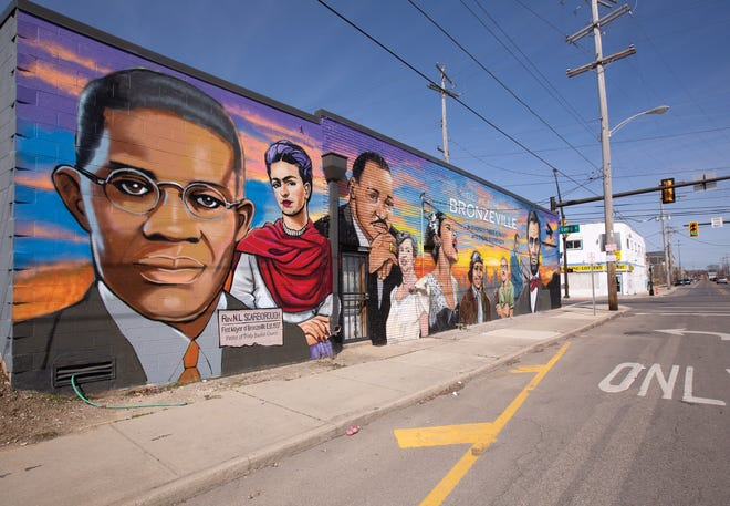 A mural at Long Street and Governors Place in the King-Lincoln Bronzeville neighborhood