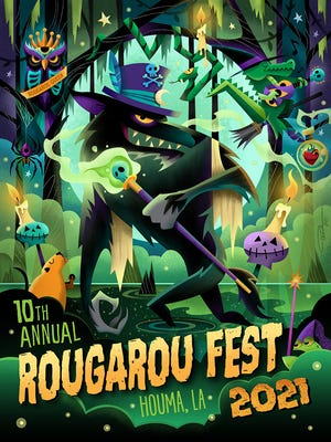 In this year's Rougarou Fest poster, Artist Pashur House depictsthe mythical, werewolf-like Rougarou strutting through cypress forest surrounded byother swamp dwellers, including Beignet the nutria, who is praying for a pardon.