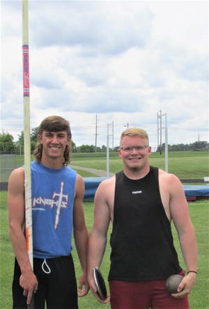 Emmett Myers (left) and Lane Graham will be competing in five events at state. Their leadership has been a big part of the succcess of the West Holmes track team.