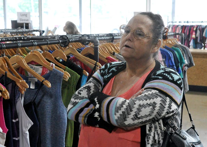 Teresa Holderbaum visits Mission: Thrift in Wooster, just one of several second-hand stores she frequents throughout Holmes and Wayne counties.