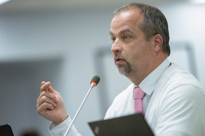 Maury County Public Schools Superintendent Michael Hickman speaks during a school board meeting at Horace O. Porter School in Columbia, Tenn., on Tuesday, May 25, 2021.